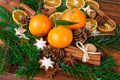 Tangerines mandarins fruits with christmas spices ans fir branch Royalty Free Stock Photography
