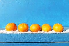 Tangerines na błękitnym tle Zdjęcia Royalty Free