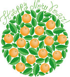 Tangerines in New Year  (vector) Royalty Free Stock Images