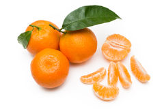Tangerines no branco Fotografia de Stock Royalty Free