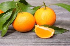 Tangerines, obrany tangerine i tangerine plasterki, Obrazy Royalty Free