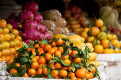 Tangerines and Other Fruit in Cambodian Market Royalty Free Stock Images