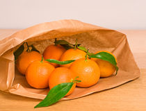 Tangerines in paper bag Royalty Free Stock Images