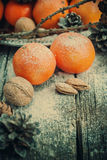 Tangerines, Pine cones with snow in holiday decoration, toned Royalty Free Stock Images