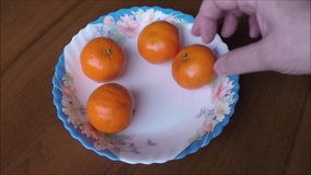 Tangerines on plate on wooden background stock video footage