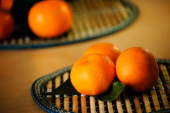 Tangerines set. Tangerines with green leafs close up Stock Photo