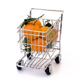Tangerines in shopping cart. Isolated tangerines in shopping cart Royalty Free Stock Photos