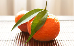 Tangerines in a straw napkin Stock Photography