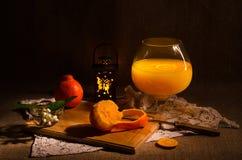 Tangerines and tangerine juice Royalty Free Stock Image