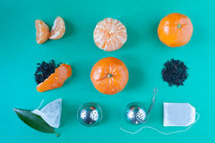 Tangerines Tea Deconstructed Stock Photography