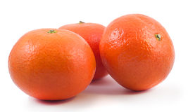 Tangerines. Three tangerines on white background Royalty Free Stock Photography
