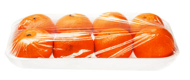 Tangerines in vacuum packing Royalty Free Stock Images