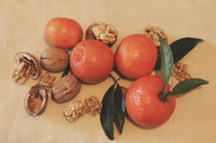 Tangerines and walnuts. Royalty Free Stock Photo