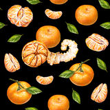 Tangerines. Watercolor drawing. Ripe peeled tangerine. Handwork. Tropical fruit. Healthy food. Seamless pattern for design.  stock illustration