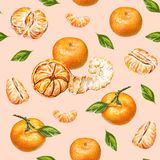 Tangerines. Watercolor drawing. Ripe peeled tangerine. Handwork. Tropical fruit. Healthy food. Seamless pattern for design Stock Images