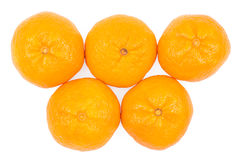 The tangerines which aren't peeled Stock Photos