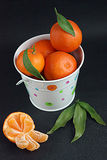 Tangerines in white bucket Stock Image