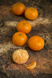 Tangerines on wooden background Royalty Free Stock Photo