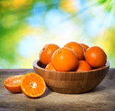 Tangerines in wooden bowl. Over shiny leaves background Royalty Free Stock Photography