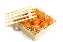 Tangerines in wooden box Stock Photography