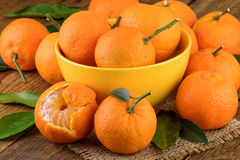 Tangerines in Yellow Bowl Royalty Free Stock Photography