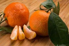 Tangerines z liśćmi Zdjęcie Royalty Free