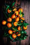 Tangerines z liśćmi na drewnianym tle Mandarynu Tangerine zdjęcia royalty free