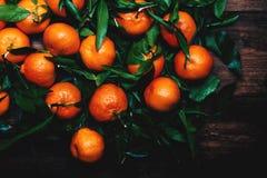 Tangerines z liśćmi na drewnianym tle Mandarynu Tangerine obrazy royalty free