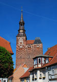 Tangermünde, Saxony Anhalt, Germany. Main church. Brick Gothic architecture. City of Tangermünde, Saxony Anhalt, Germany royalty free stock images