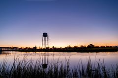 Tangier island water tower stock image