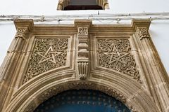 TANGIER, MOROCCO - MAY 26, 2017: Five-pointed star as decorative element on the wall of one of the old buildings in Tangier,
