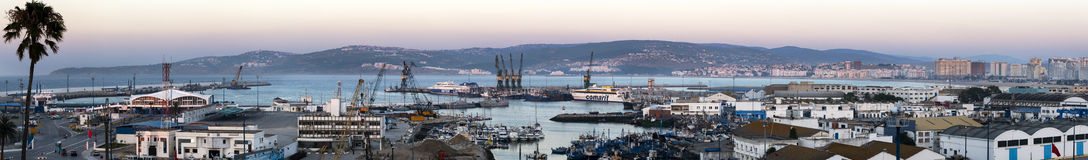 Tangier, Morocco. 22nd July 2013. Panoramic view of the port of Tangier Morocco and city skyline at dusk royalty free stock image