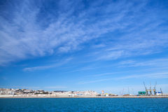 Tangier port panorama with blue sky, Morocco Stock Photo