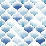 Tangier rug of blue colors on white background. Watercolor seamless pattern. Riverside and Airy Blue Stock Images