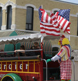 Tangier Shrine Clown in jalopy in parade in small town America Stock Images