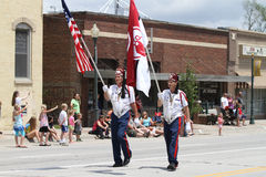 Tangier Shrine color guard in parade in small town America Stock Photos