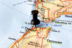 Tangier. Straight Pin in a Map stock photography