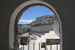 Tangier, Tangiers, Tanger, Morocco, Africa, North Africa, Maghreb coast, Strait of Gibraltar, Mediterranean Sea, Atlantic Ocean. Morocco, 22/04/2016: an arch and Royalty Free Stock Images
