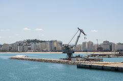 Tangier, Tangiers, Tanger, Morocco, Africa, North Africa, Maghreb coast, Strait of Gibraltar, Mediterranean Sea, Atlantic Ocean. Morocco, 22/04/2016: a crane in Stock Image