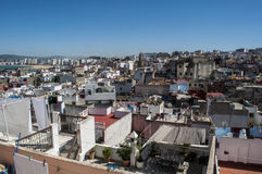 Tangier, Tangiers, Tanger, Morocco, Africa, North Africa, Maghreb coast, Strait of Gibraltar, Mediterranean Sea, Atlantic Ocean. Morocco, 22/04/2016: the roofs Stock Photography