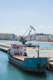 Tangier, Tangiers, Tanger, Morocco, Africa, North Africa, Maghreb coast, Strait of Gibraltar, Mediterranean Sea, Atlantic Ocean. Morocco, 22/04/2016: a ship in Royalty Free Stock Images