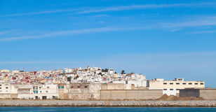 Tangier town and port, panorama with blue sky, Morocco, Afri Royalty Free Stock Images
