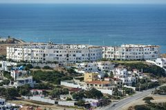 Tangier Seacoast Buildings. Modern dwellings Tangiers, Morocco enjoy a spectacular seaside view stock photos