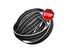 Tangle ball of road. And stop sign isolated on white background Royalty Free Stock Image