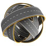Tangle ball of road isolated Royalty Free Stock Photography