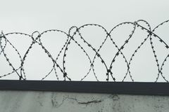 The tangle barb with gray sky. the fence at the prison. Holocaust Stock Image