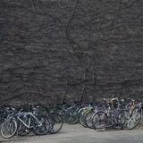 A tangle of bicycles leaning on each other in a university town Royalty Free Stock Images