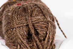 The tangle of brown wool large abstract background Royalty Free Stock Photos