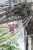 A tangle of cables and wires Stock Photo