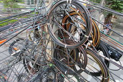 Tangle, chaos, messy of electric cable Stock Photo
